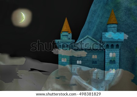Castle at night with half moon, 3d rendering