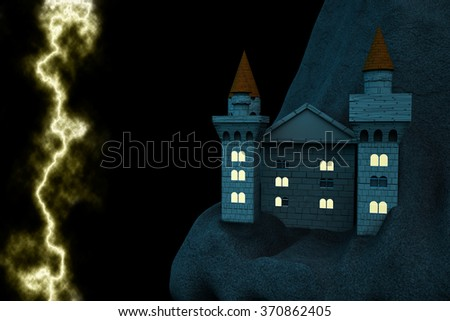 Castle at night with near lighting, 3d render - stock photo