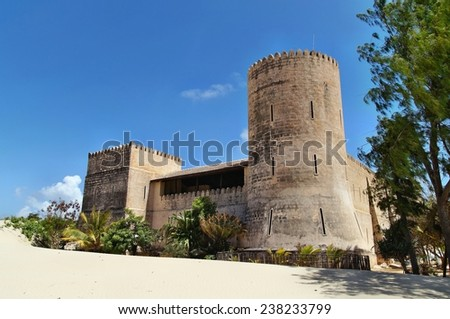 Castle at Shela beach, Lamu island, Kenya - stock photo