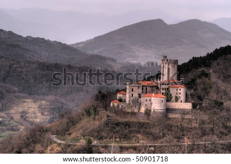 Castle before storm - stock photo