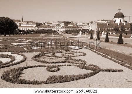 Castle Belvedere gardens in Vienna, Austria. The Old Town is a UNESCO World Heritage Site. Sepia tone - retro monochrome color style. - stock photo