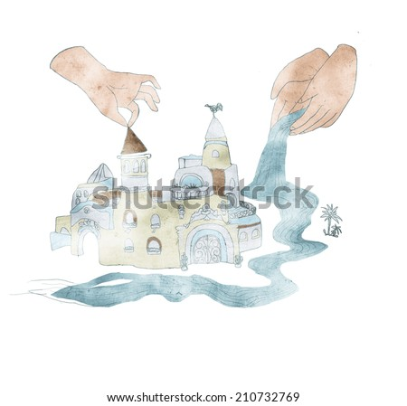 Castle by the river hand drawn illustration - stock photo
