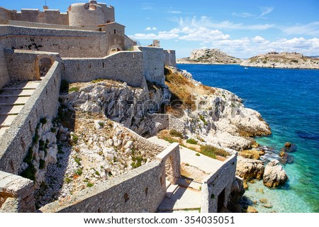 Castle Chateau d'If, near Marseille France. On sunny warm day in Provence. - stock photo