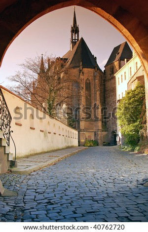 Castle church considered in Altenburg from the gatehouse - stock photo