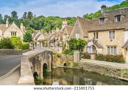 Castle Combe the prettiest village in England - stock photo