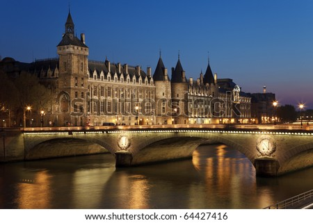 Castle Conciergerie and bridge of Change,  Paris, France