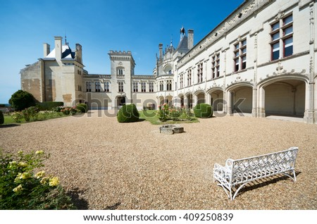 Castle courtyard Breze, Loire Valley, France. Built between the 11th and 19th centuries, it houses an extraordinary subterranean complex, a castle in a castle. - stock photo