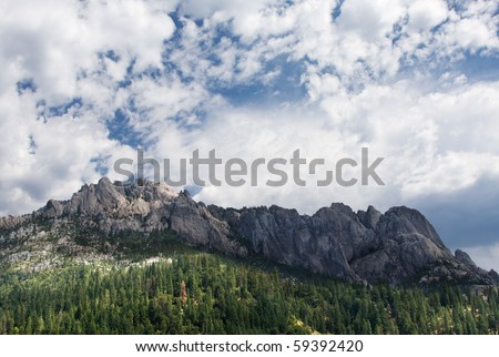 Castle Crags, the key rock formation in Castle Crags State Park, California.