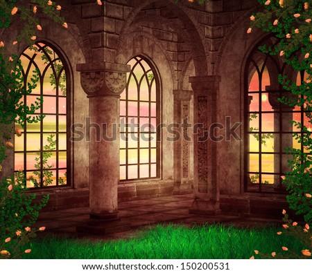 Castle Fantasy Backdrop - stock photo