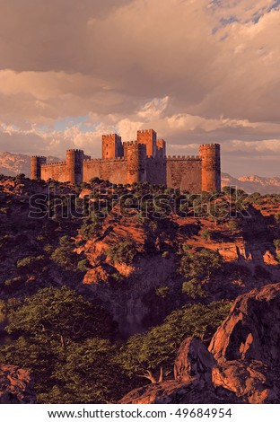 Castle Fortress In The Mountains - stock photo