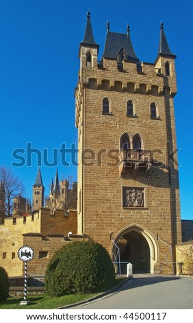 "castle gate of the ducal prussian ""Hohenzollernburg"", Hechingen Germany"