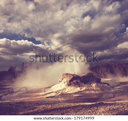 Castle geyser for retro style - stock photo