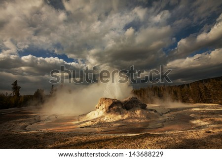 Castle geyser in Yellowstone NP,USA - stock photo