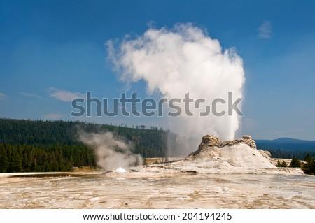 Castle geyser, Yellowstone national park, USA - stock photo