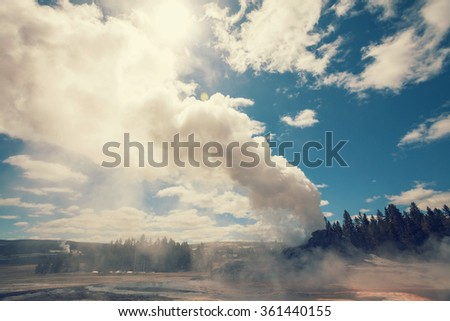 Castle geyser, Yellowstone National Park, Wyoming, USA - stock photo