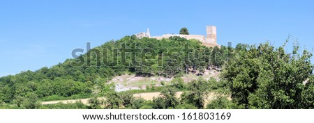 Castle Gleichen of the Drei Gleichen Fortresses in Thuringia Germany - Panorama. It was the seat of a line of counts, one of whom, Ernest III, a crusader, is the subject of a romantic legend.   - stock photo