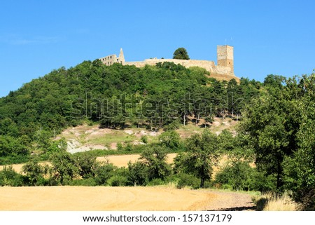 Castle Gleichen of the Drei Gleichen Fortresses near Wandersleben in Thuringia Germany. It was the seat of a line of counts, one of whom, Ernest III, a crusader, is the subject of a romantic legend.   - stock photo