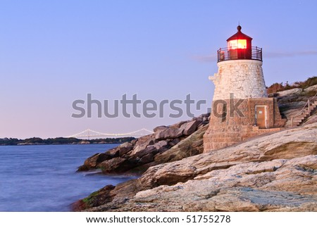 Castle Hill Lighthouse and Newport Bridge , Rhode Island - stock photo