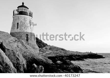 Castle Hill Lighthouse in Newport Rhode Island - stock photo