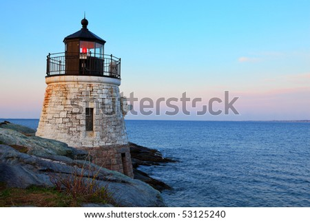 Castle Hill Lighthouse in Newport Rhode Island at sunrise - stock photo