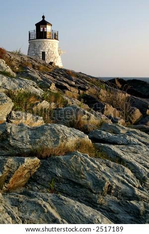 Castle Hill Lighthouse Newport Rhode Island Vertical - stock photo