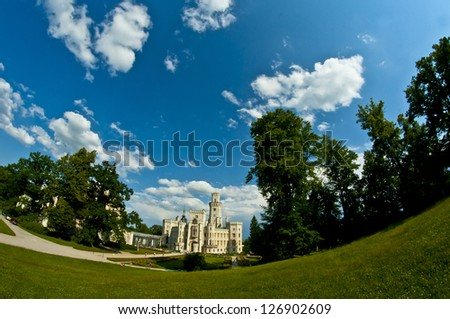 castle Hluboka with fish eye effect - stock photo