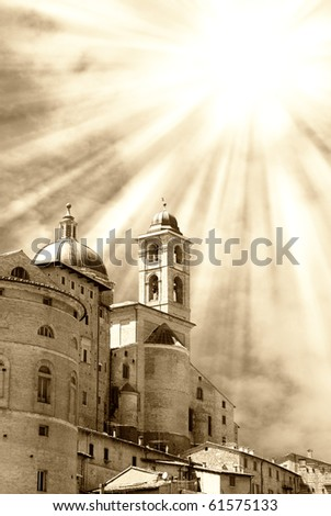 castle illuminated by sun beam