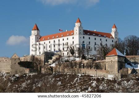 Castle in Bratislava, Slovakia, with nice blue sky - stock photo