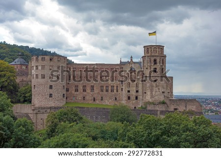 Castle in Heidelberg, Germany, with dramatic sky - stock photo