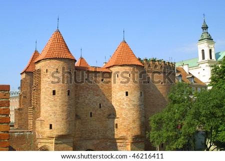 Castle in Old Town of Warsaw city, Poland - stock photo