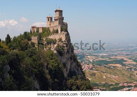 Castle in San marino - stock photo