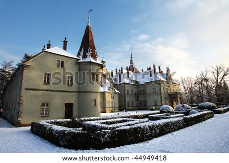 castle in winter, Transcarpathian region, Ukraine - stock photo
