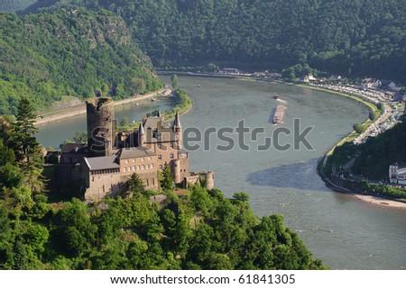 Castle Katz and the river Rhine - stock photo