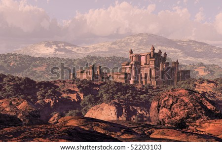 Castle Landscape / A distance medieval castle fortress in the countryside. - stock photo