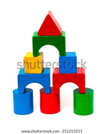 castle made from wooden toy blocks isolated on white - stock photo