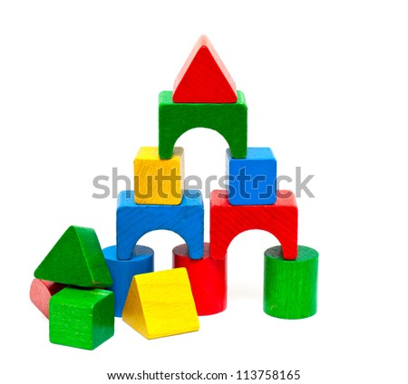 castle made of wooden blocks - stock photo
