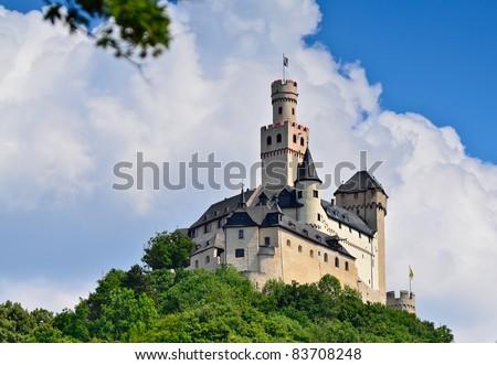 "Castle ""Marksburg"" above ""Braubach"" Rhine river valley, Germany - stock photo"