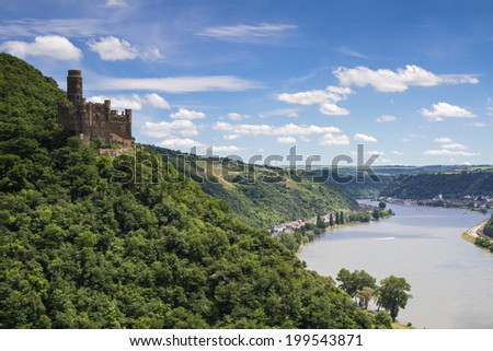 Castle Maus overlooking the Rhine Valley, Hessen, Germany - stock photo