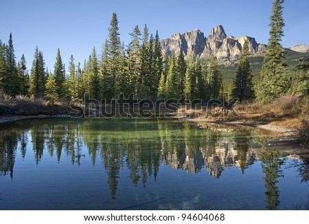 Castle Mountain, Approximately 20 miles West of Banff, Banff National Park, Alberta, Canada. - stock photo