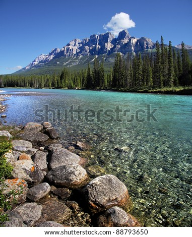 Castle Mountain, Banff National Park, Alberta, Canada 20 West of Banff - stock photo