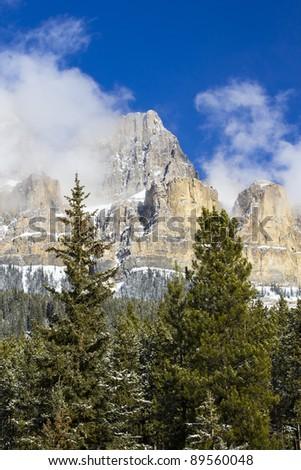 Castle Mountain in Banff National Park, Alberta, Canada - stock photo