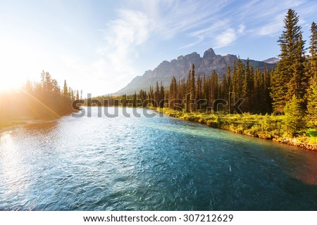 Castle Mountain in Banff National Park, Canada.  - stock photo