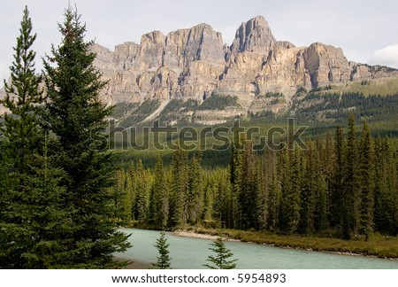 Castle Mountain in the Canadian Rockies - stock photo