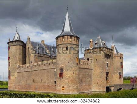 Castle Muiderslot was part of the Defence Line of Amsterdam - stock photo