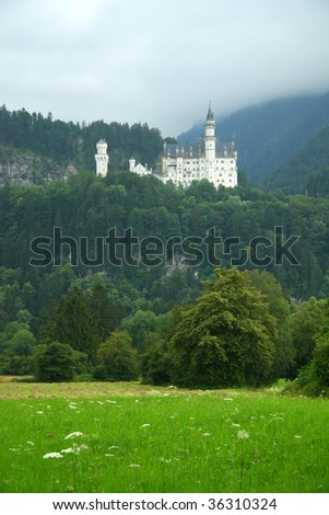 Castle Neuschwanstein in Germany - stock photo
