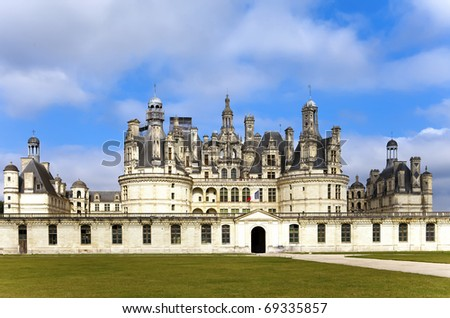 castle of a valley of the river Loire. France. Chambord castle (Chateau de Chambord) - stock photo