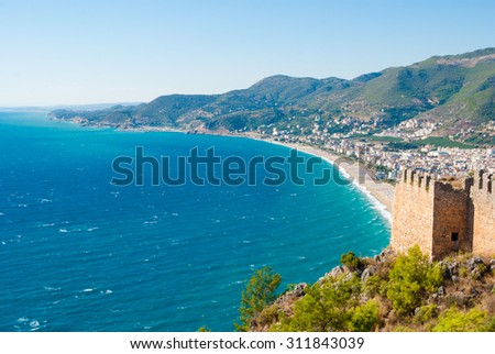 castle of Alanya and the Cleopatra beach, Antalya, Turkey - stock photo