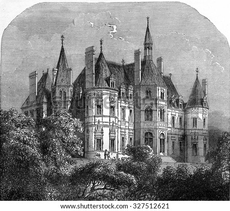 Castle of Boursault, vintage engraved illustration. Industrial encyclopedia E.-O. Lami - 1875. - stock photo