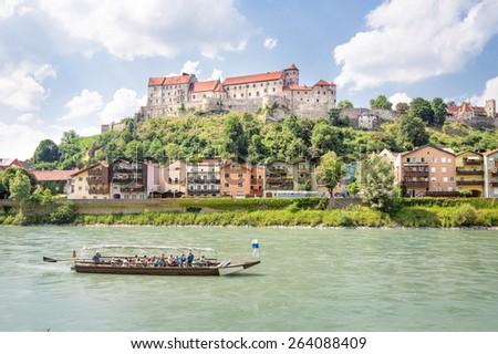Castle of Burghausen with Salzach, Bavaria, Germany - stock photo