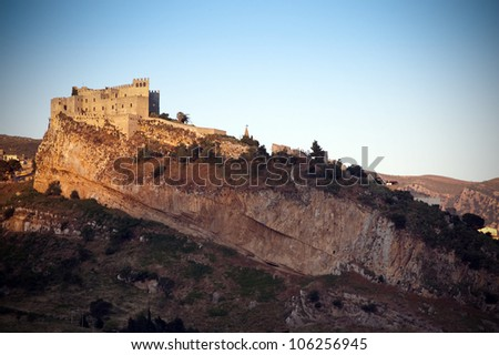Castle of Caccamo, Sicily, Italy. Built in the Norman period, perched high on a steep rocky spur - stock photo